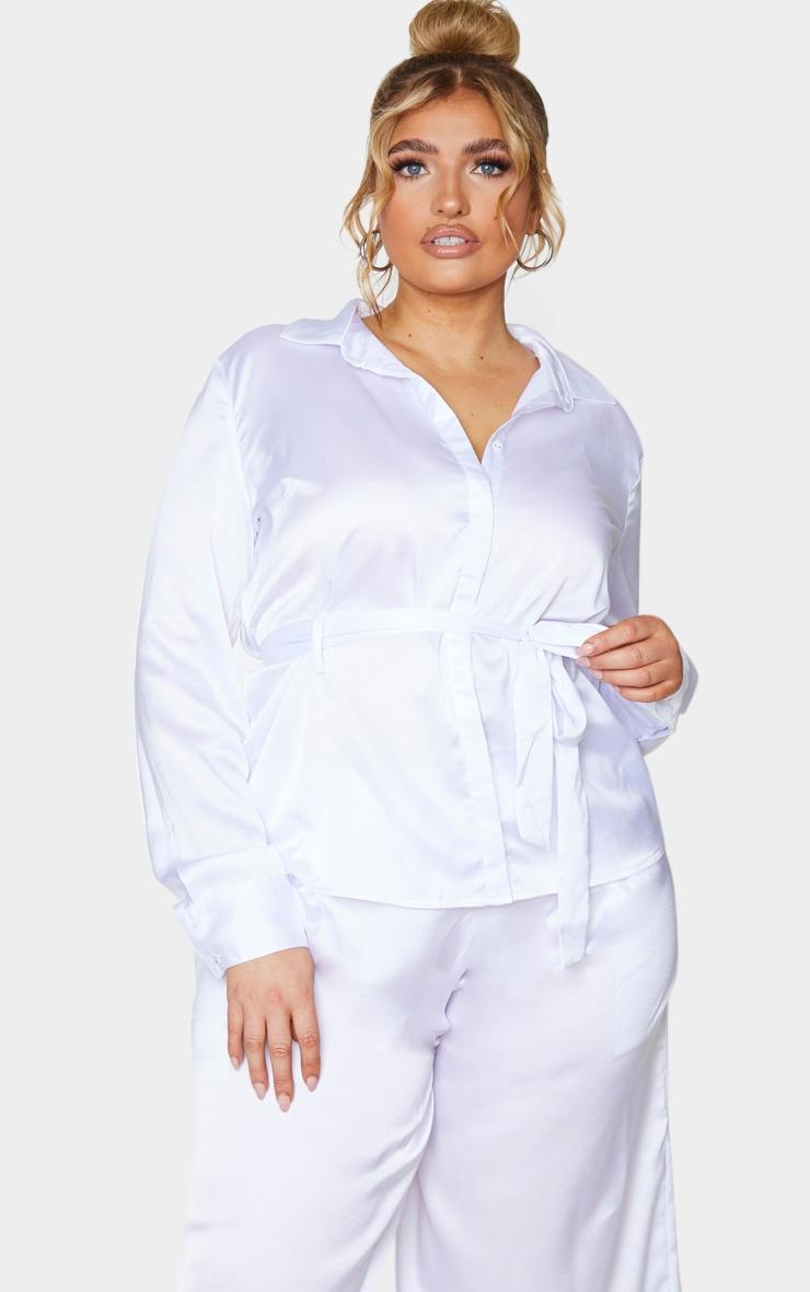 Plus White Satin Tie Waist Shirt 1