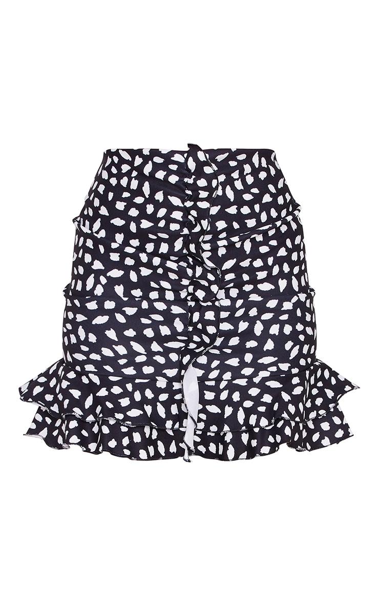 Black Dalmatian Print Stretch Woven Frill Ruched Front Mini Skirt 6