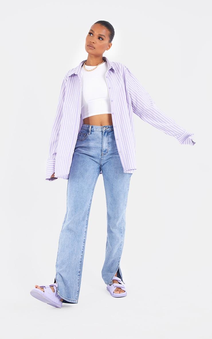 Lilac Oversized Pinstripe Cuff Shirt 3