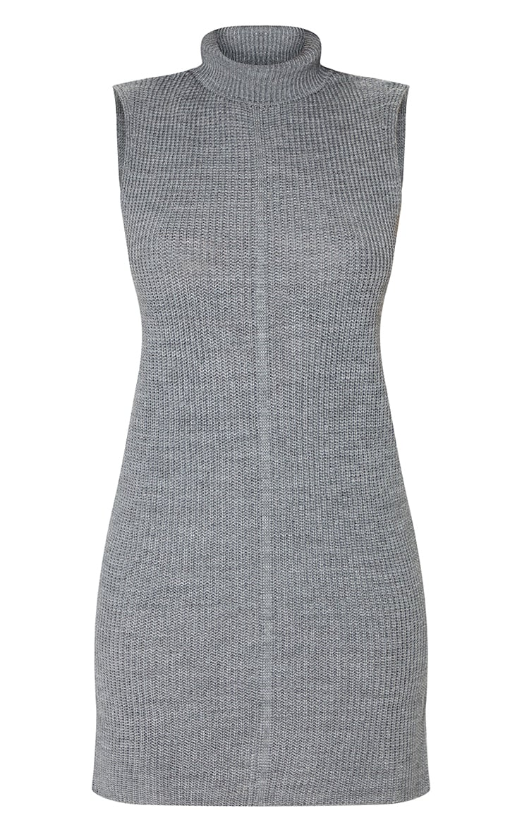 Grey Turtle Neck Side Split Sweater Dress 5