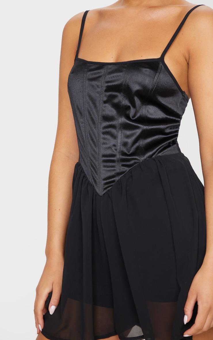 Combishort corset noir satiné à short mousseline de soie 3