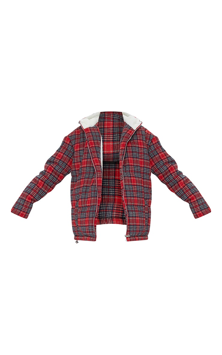 Red Brushed Checked Oversized Puffer Jacket 5
