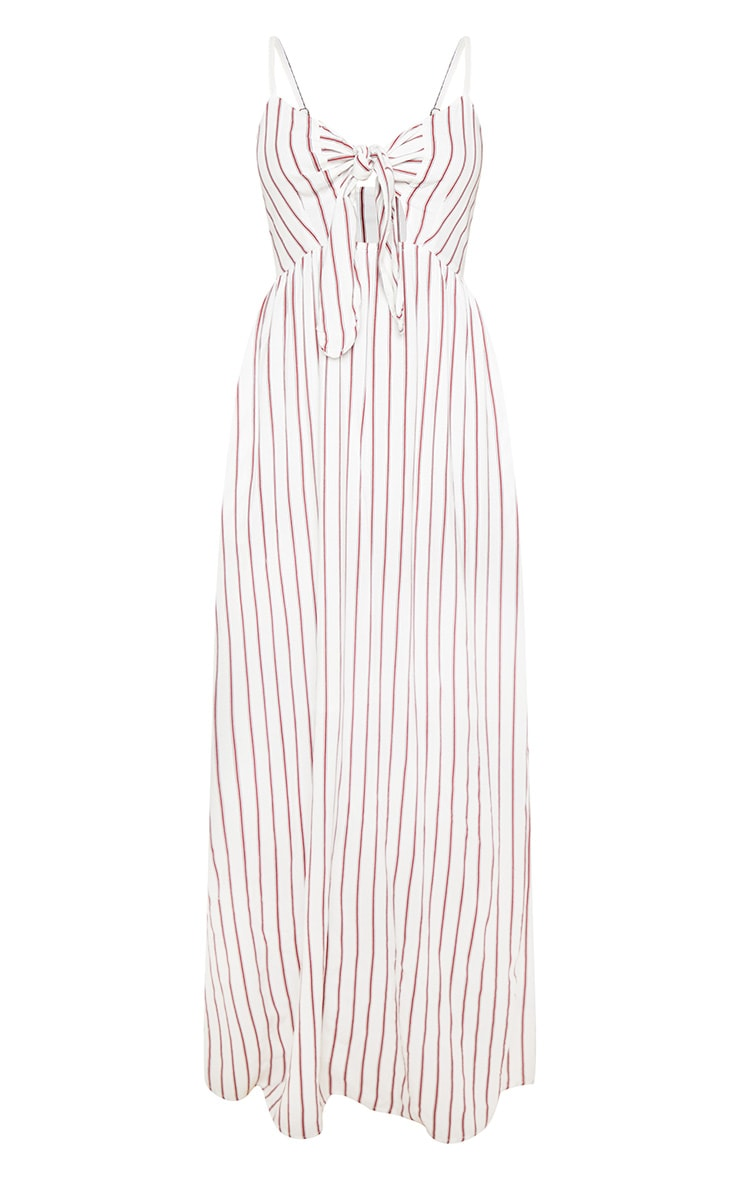 Cream Woven Stripe Button Through Tie Maxi Dress 3