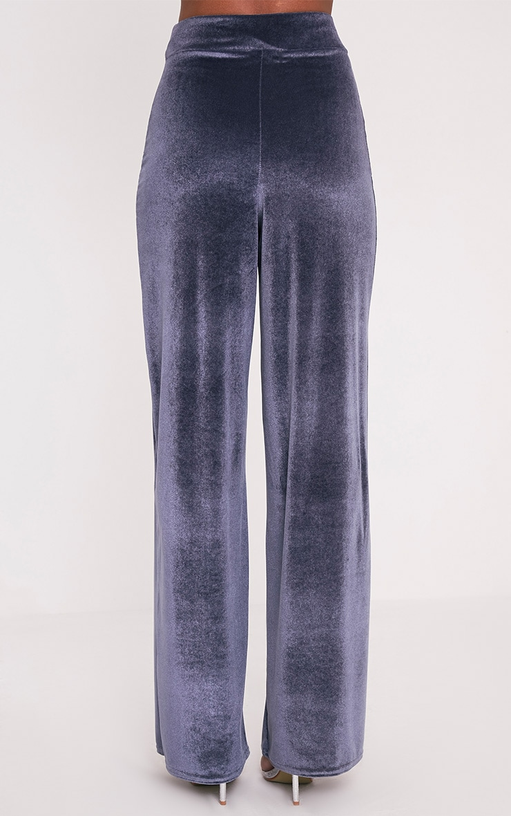Kiley Grey Split Front Velvet Wide Leg Trousers 5