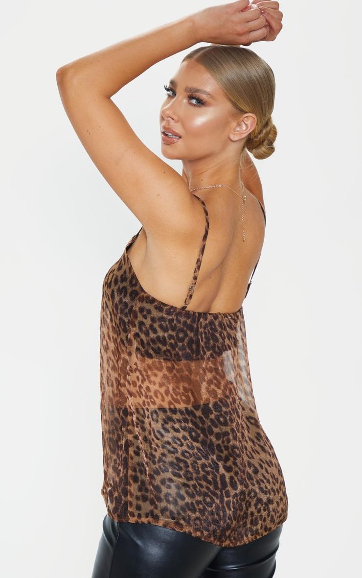 Tan Leopard Printed Chiffon Longline Cami 2