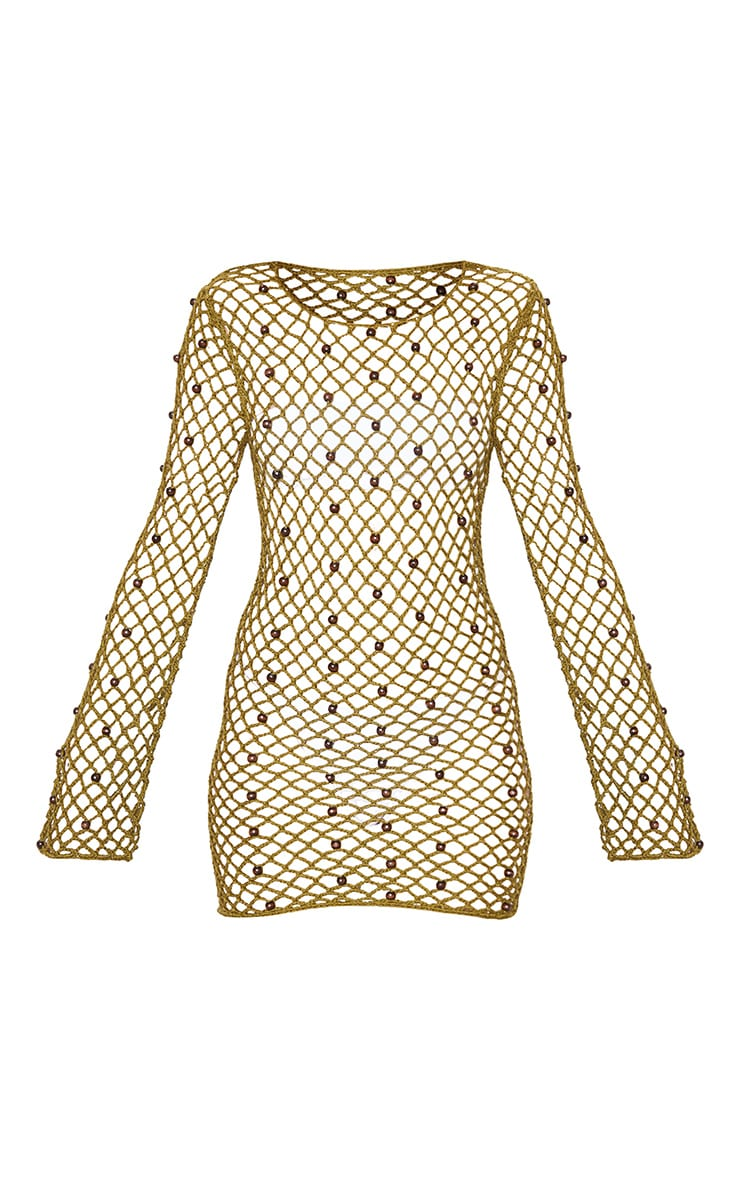 Khaki Beaded Crochet Long Sleeve Knit Dress 3