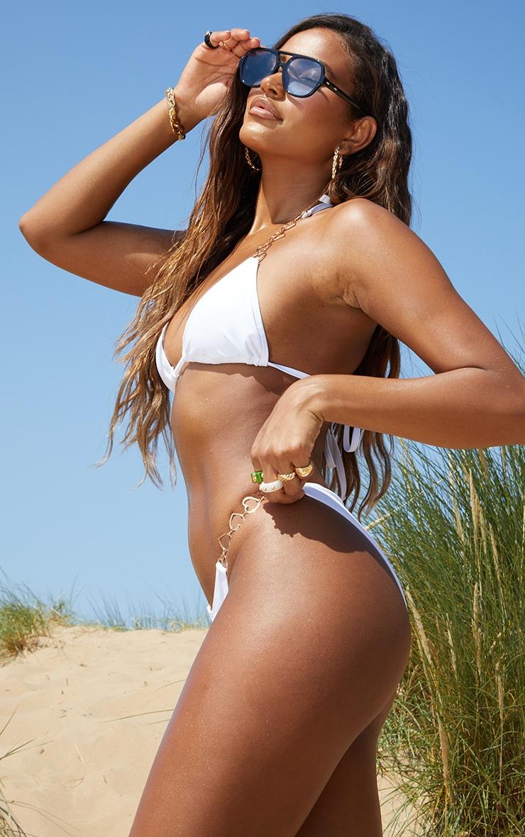 White Heart Strap Bikini Bottoms 2