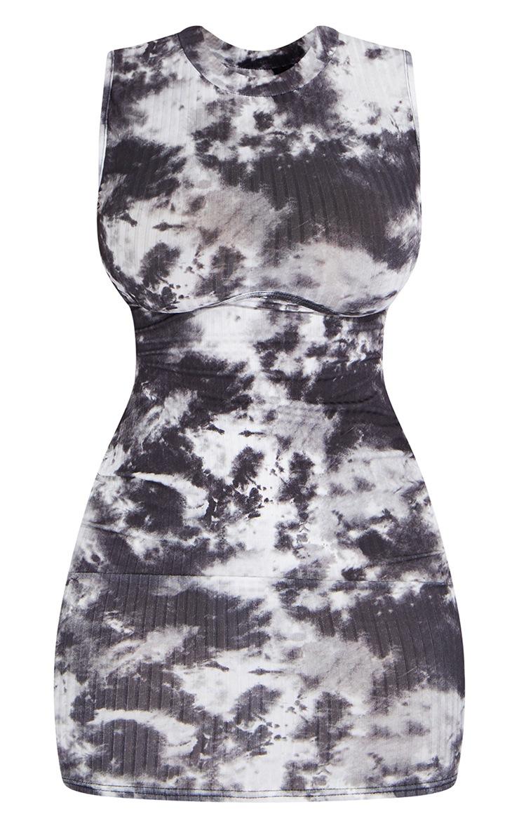 Shape - Robe moulante côtelée tie & dye noir à col haut et buste détaillé 5