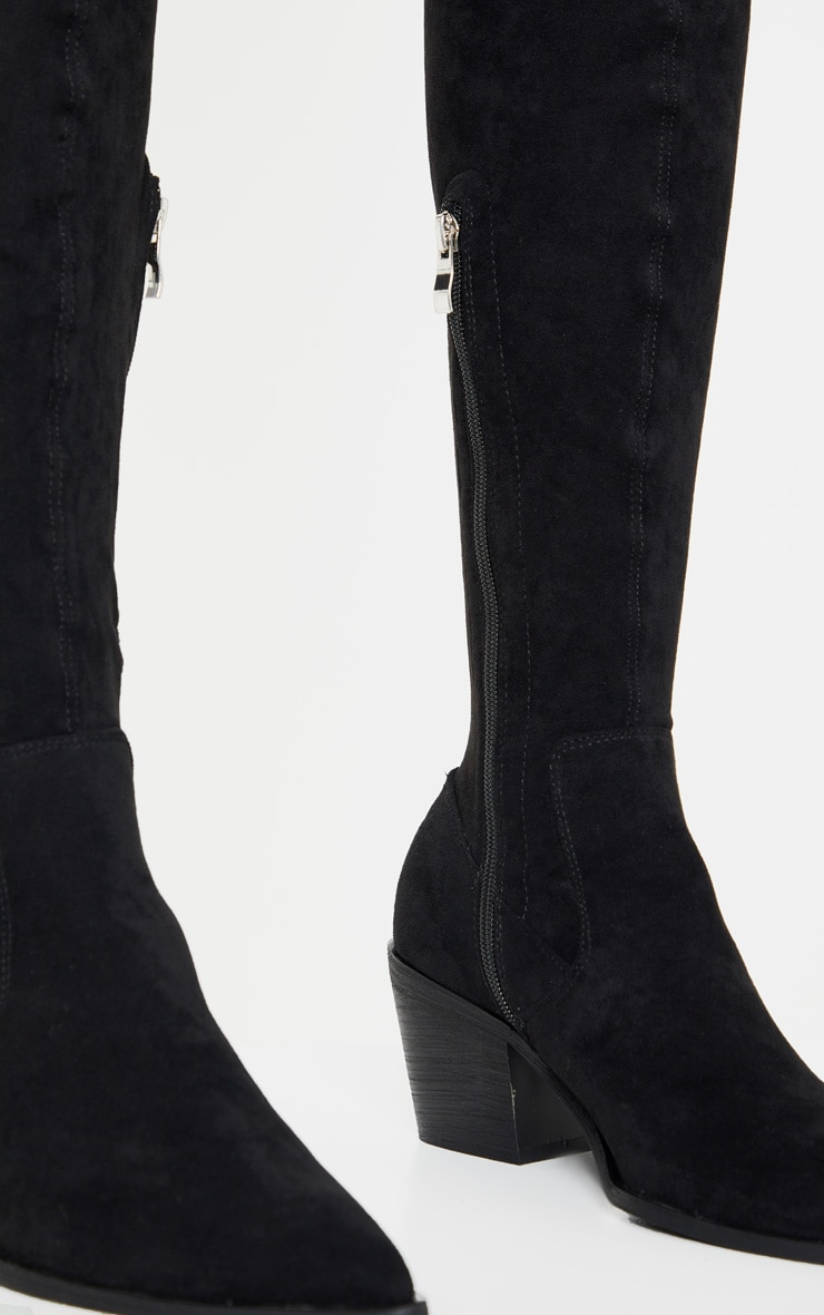 Black Thigh High Western Sock Boot 4