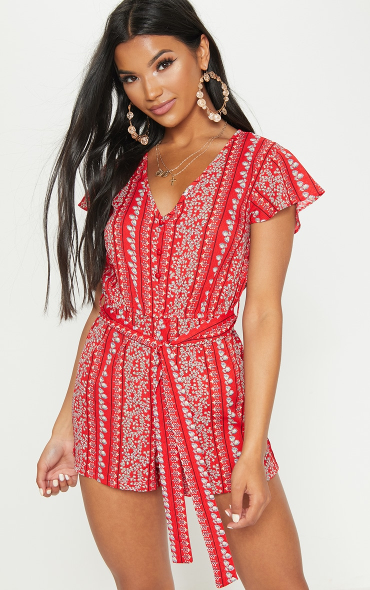 Red Printed Short Sleeve Button Through Playsuit
