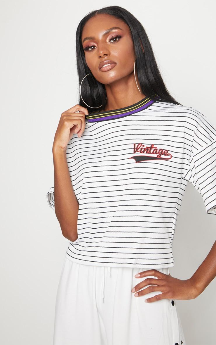 White Vintage Slogan Pinstripe Boxy T Shirt 1