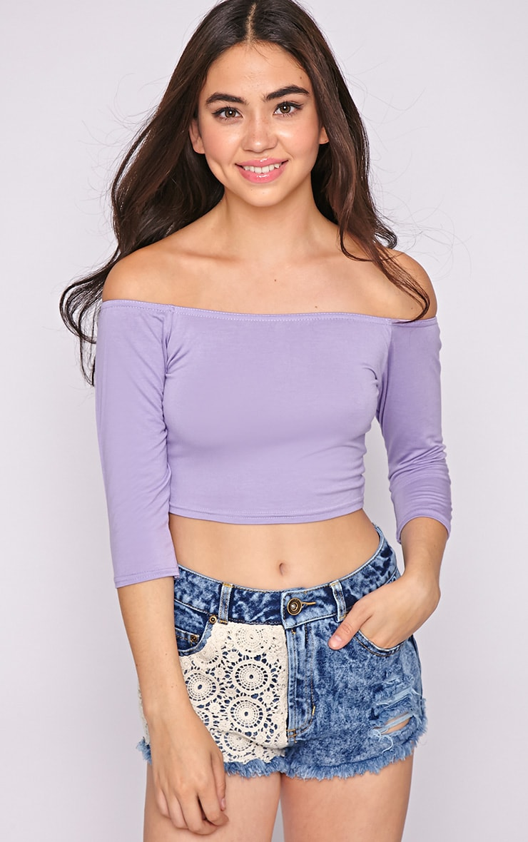 Joy Lilac Bardot Crop Top  4