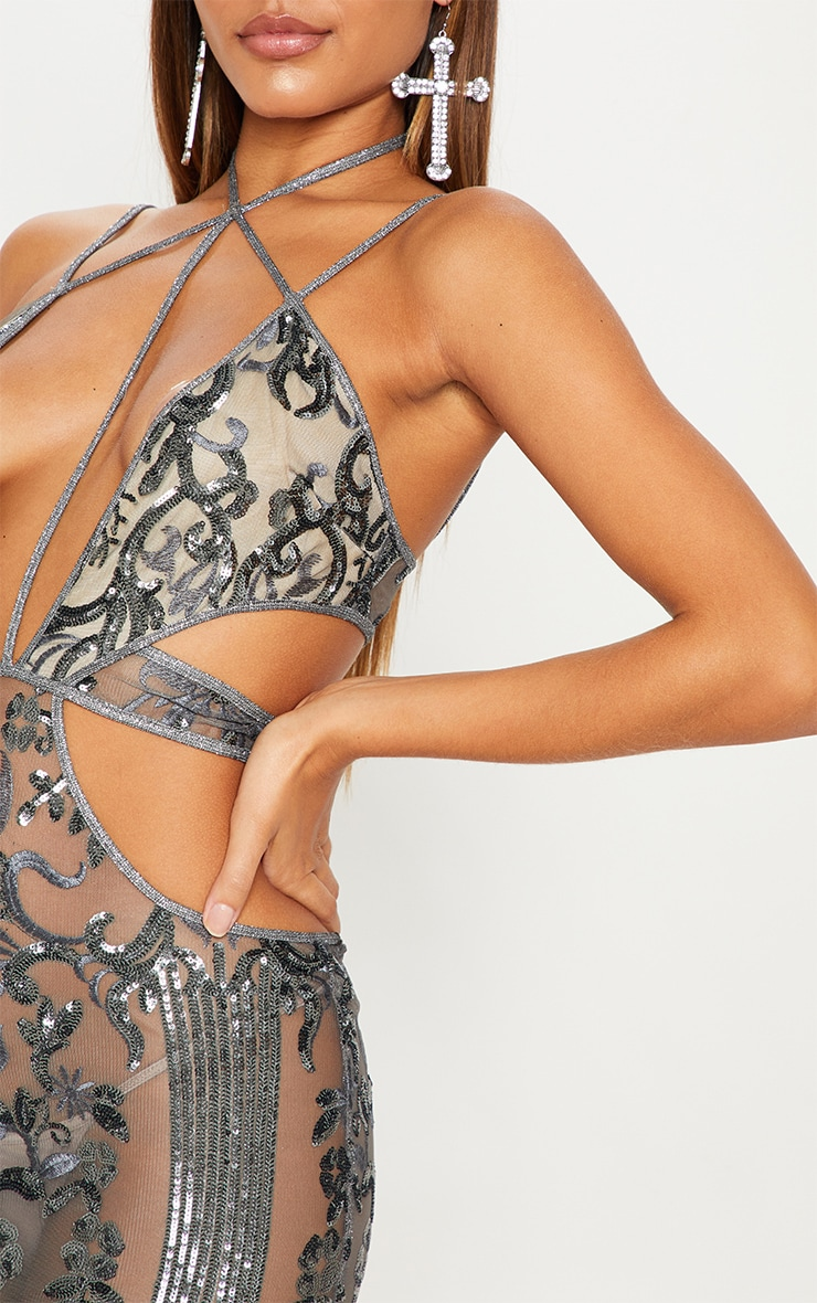 Silver Sequin Sheer Plunge Cut Out Maxi Dress 5