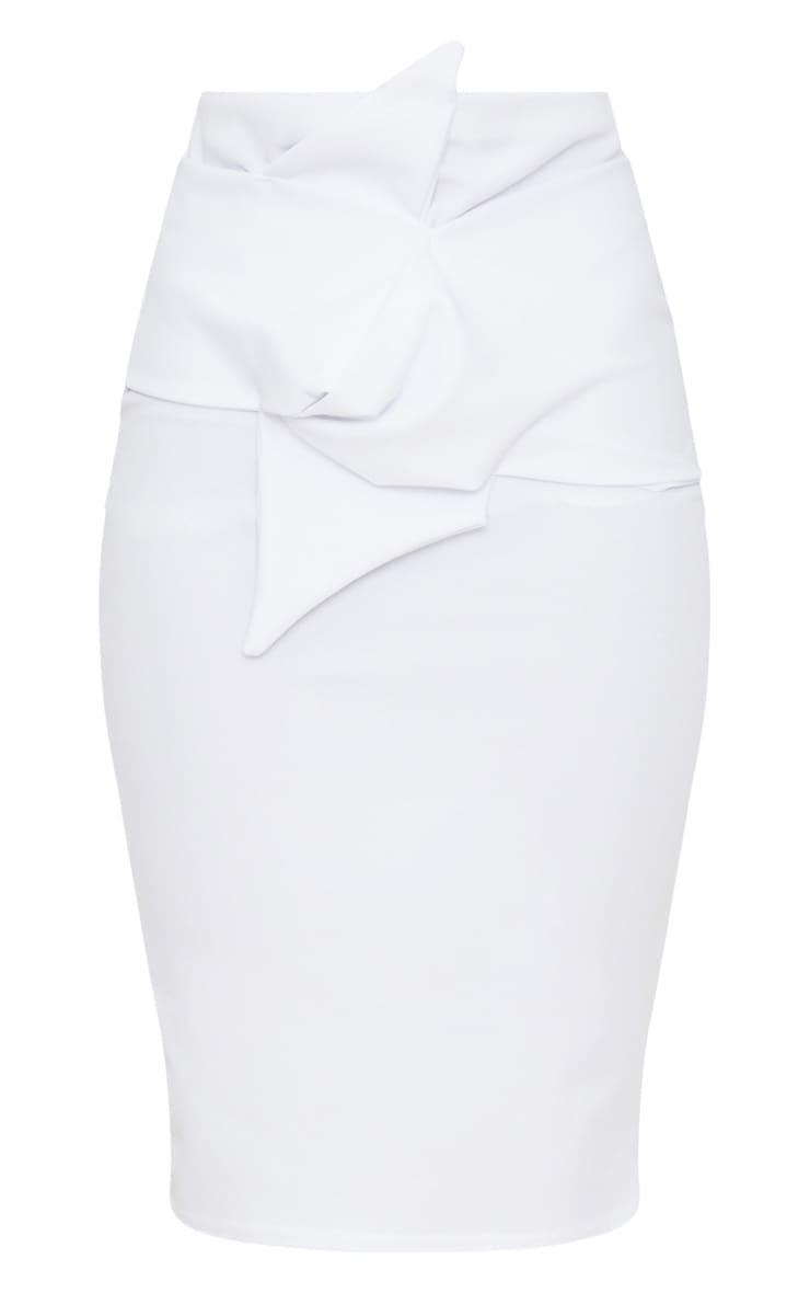 White Knot Detail Midi Skirt  3