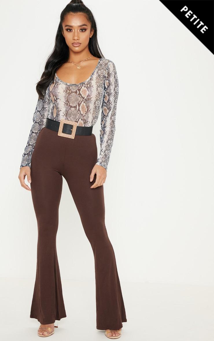 Petite - Pantalon flare basique marron chocolat