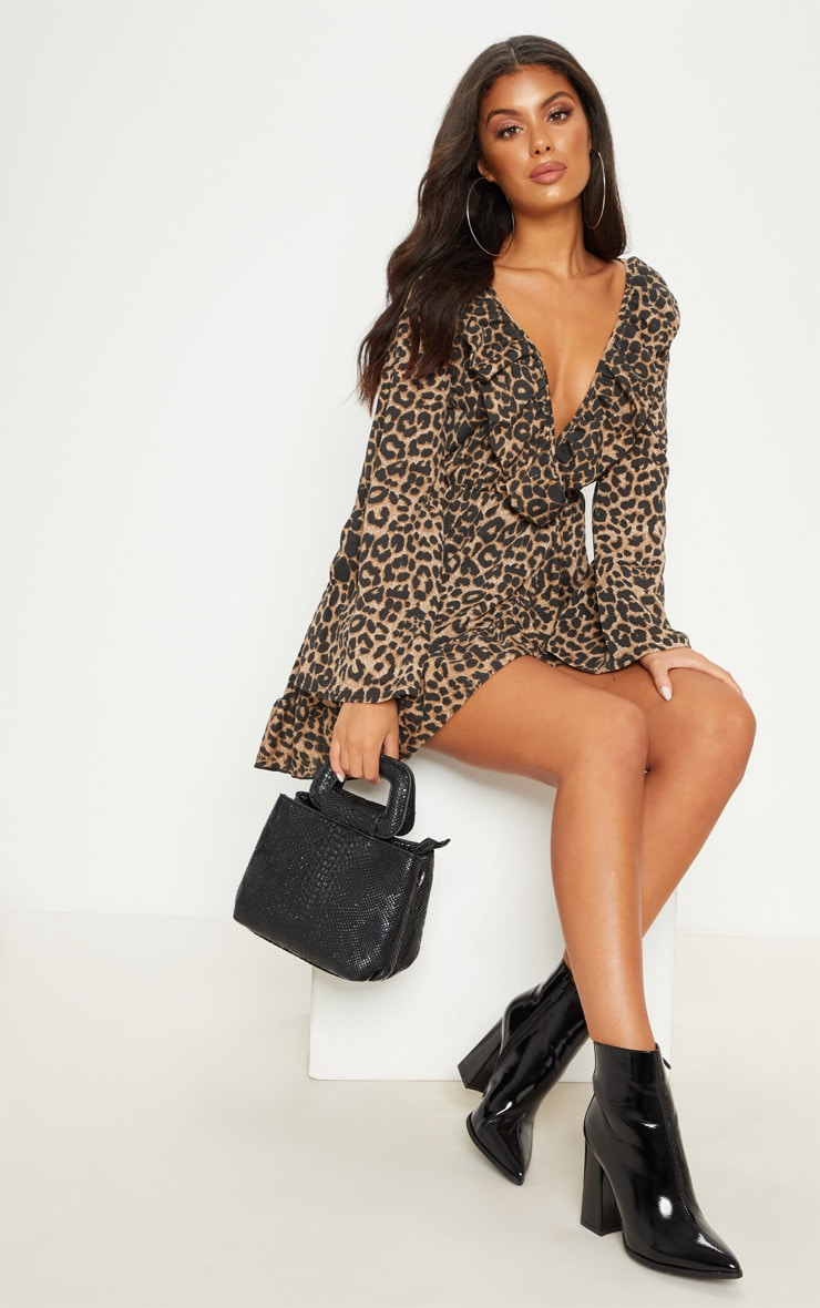 Leopard Printed Jersey Frill Detail Flare Sleeve Wrap Dress 4