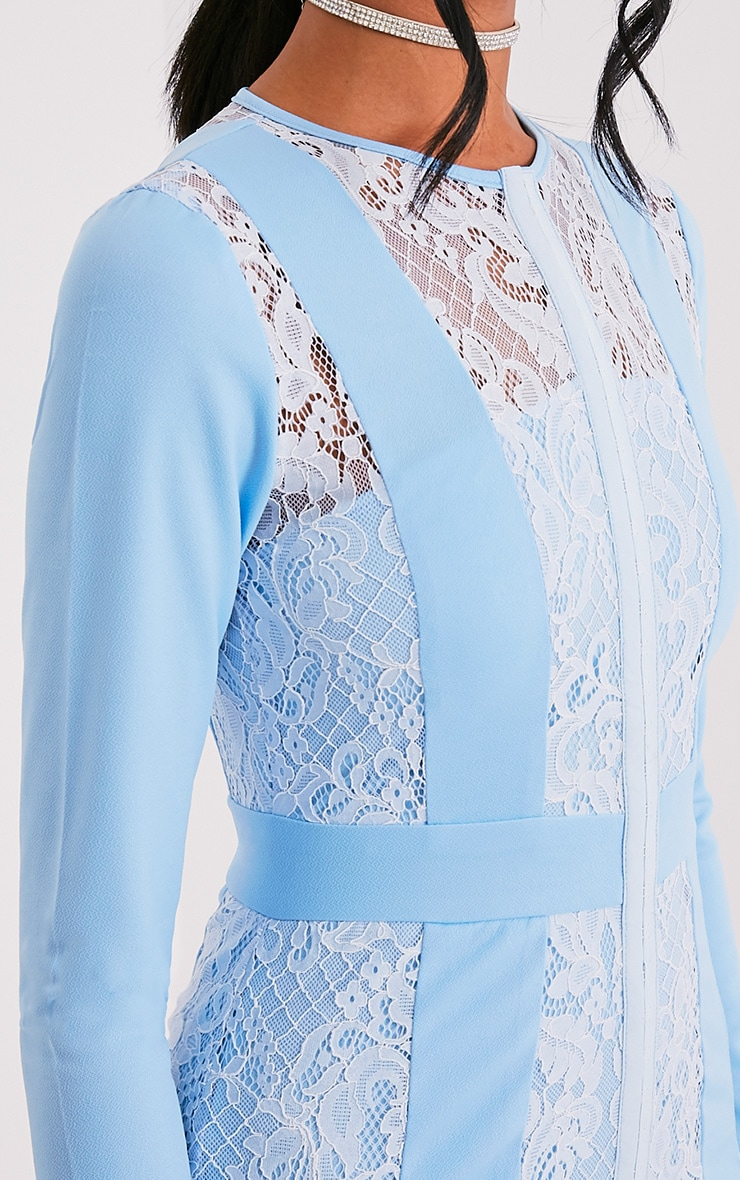 Issie Powder Blue Long Sleeve Lace Panel Bodycon Dress 6