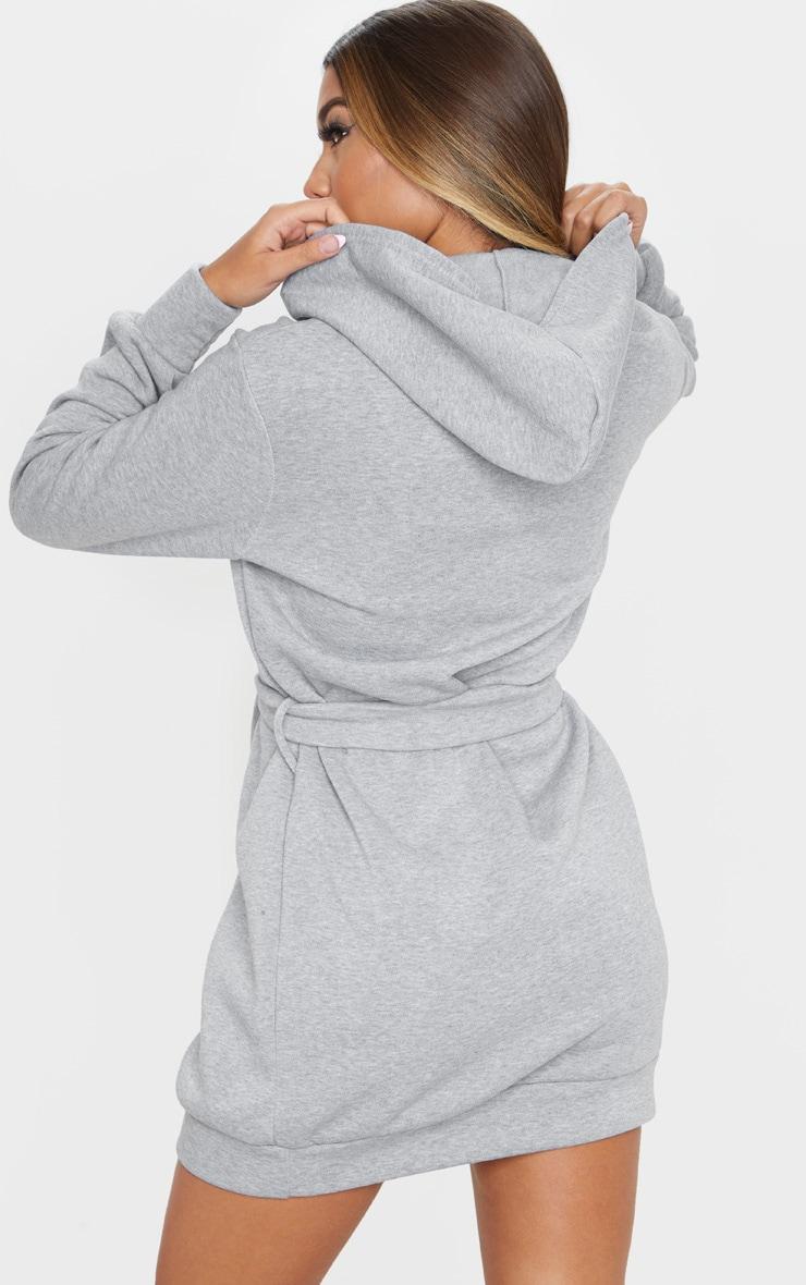 Grey Tie Waist Detail Long Sleeve Hoodie Sweater Dress 2