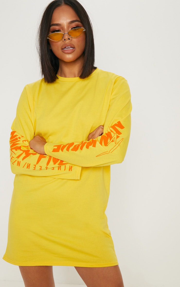 Yellow New Wave Slogan Long Sleeve T Shirt Dress