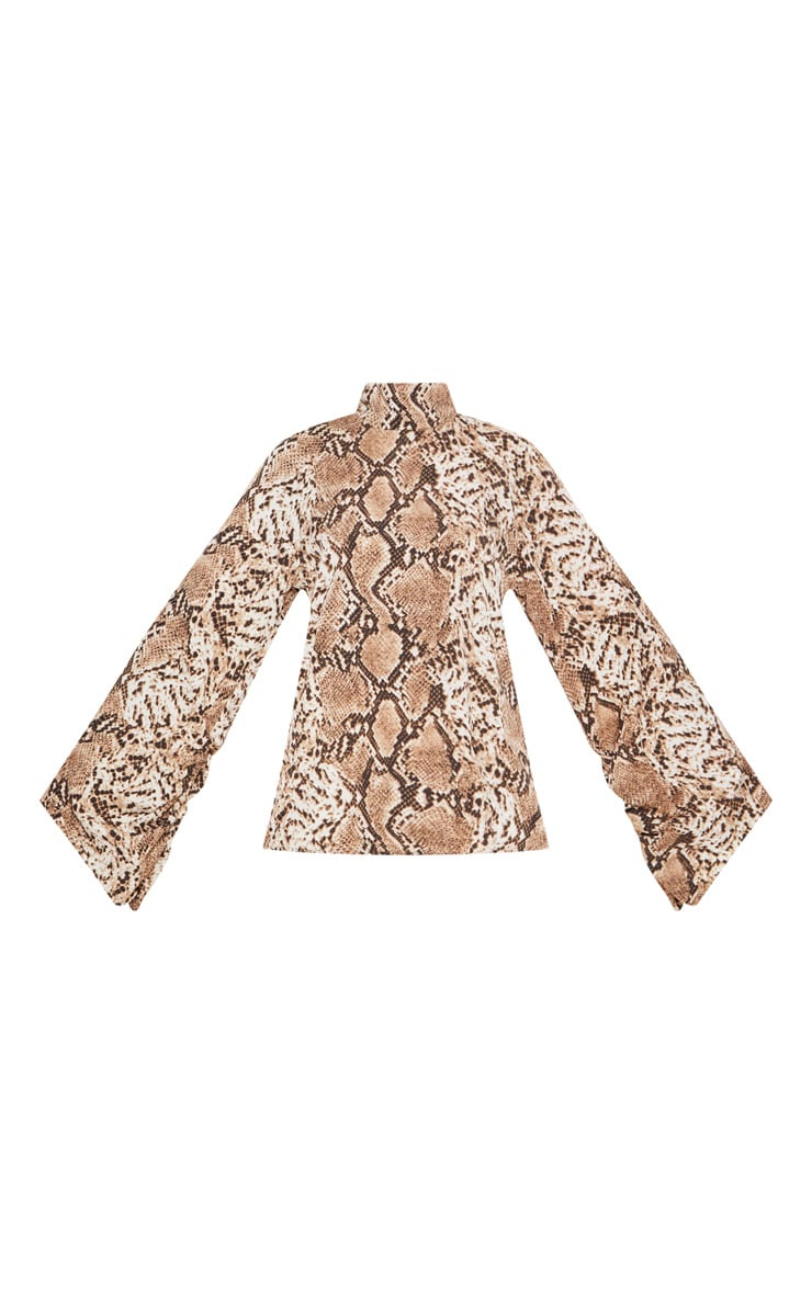 Petite Taupe Snake Print High Neck Ruched Sleeve Blouse 3