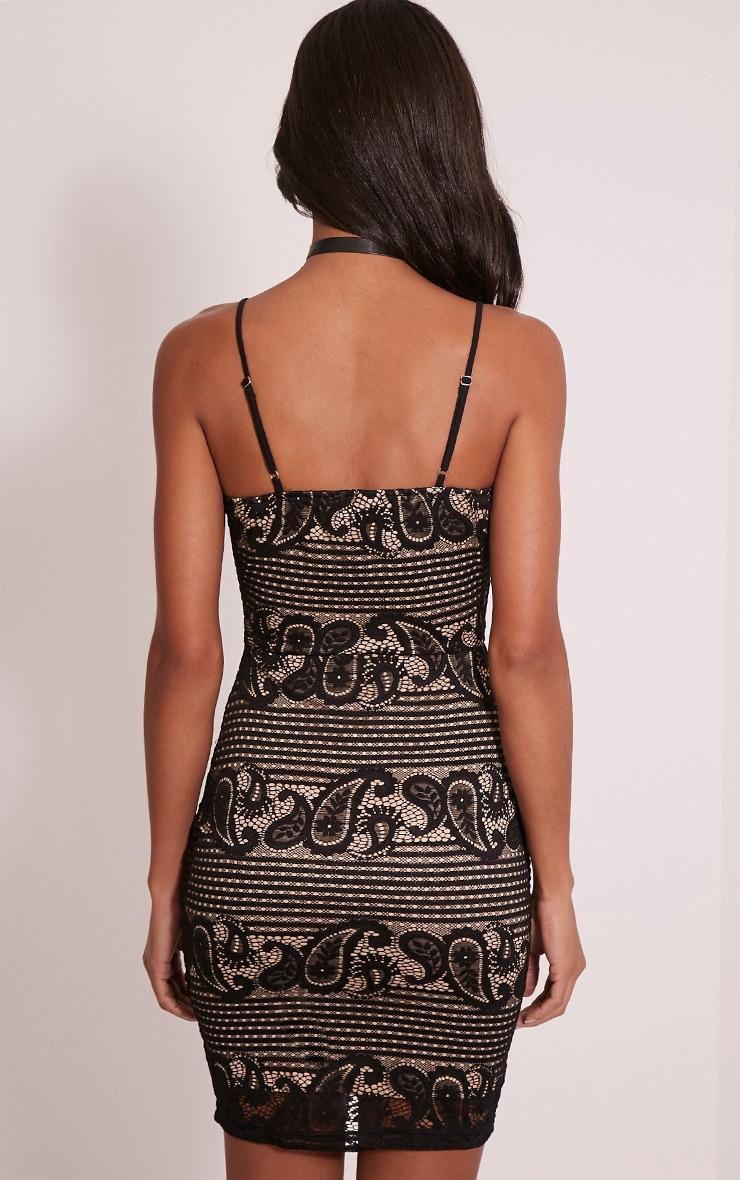 Tayla Black Stripe Lace Bodycon Dress 2