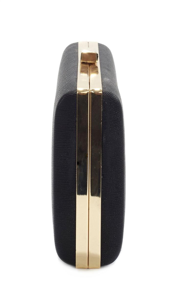 Jeanie Black Gold Frame Clutch Bag 3