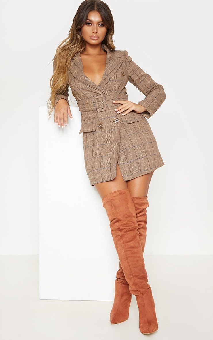 Brown Check Belted Blazer Dress 1