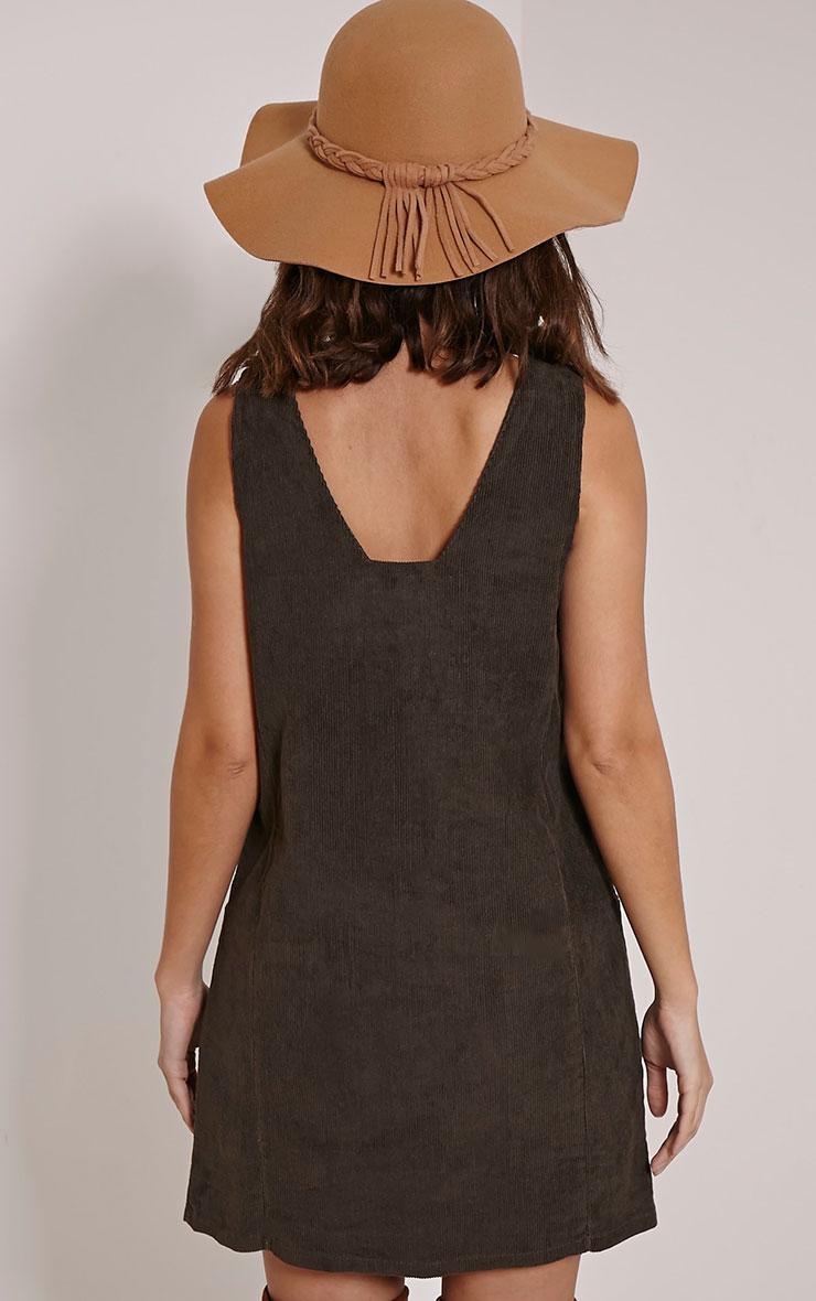 Staci Khaki Cord Pinafore Dress 3