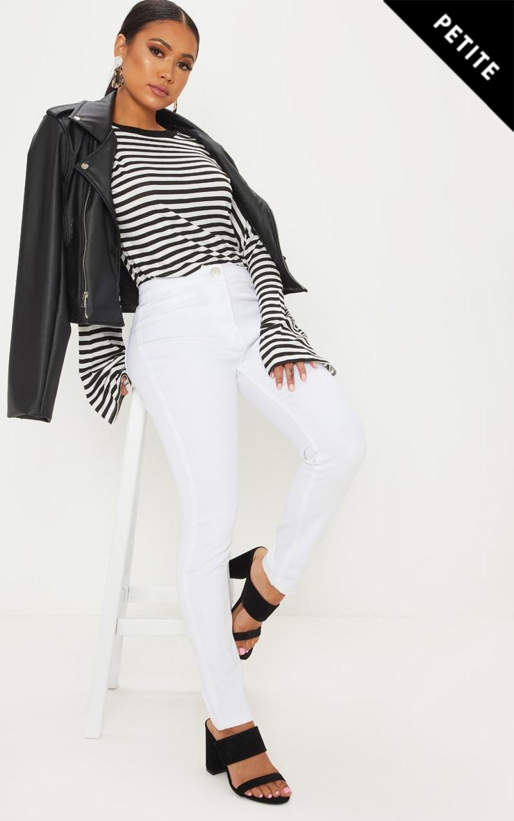 Petite White High Rise Skinny Jeans  1
