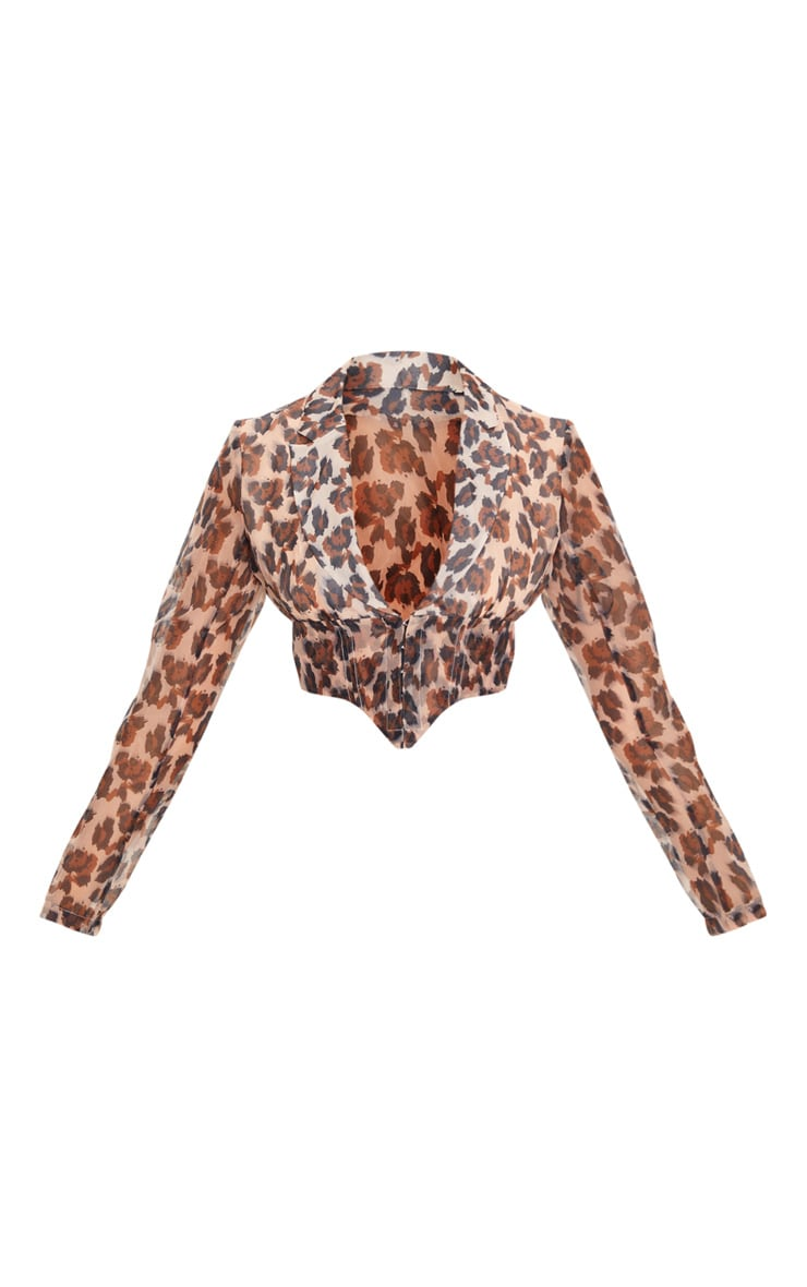 Tan Leopard Sheer Organza Pointed Hem Shirt 3