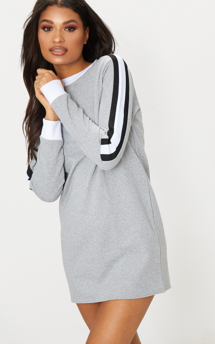 Grey Sport Stripe Long Sleeve Jumper Dress  1