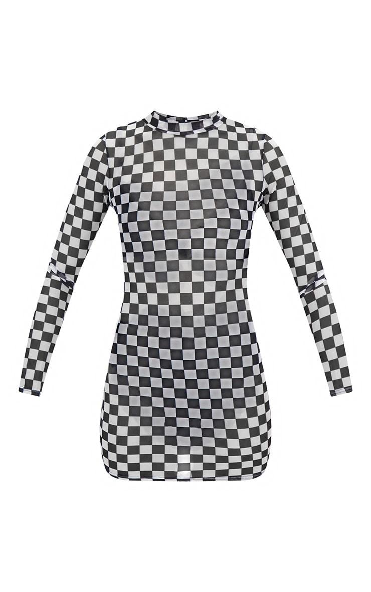 Petite Black Checkerboard High Neck Mesh Bodycon Dress 3