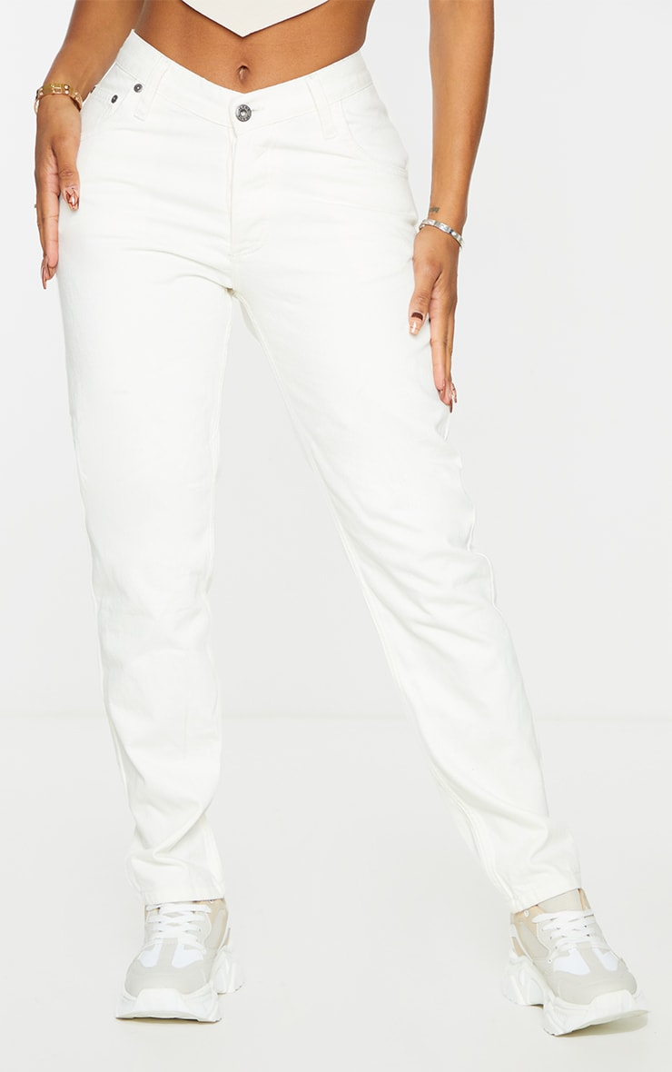 PRETTYLITTLETHING Shape Ecru V Front Waistband Straight Leg Jeans 2