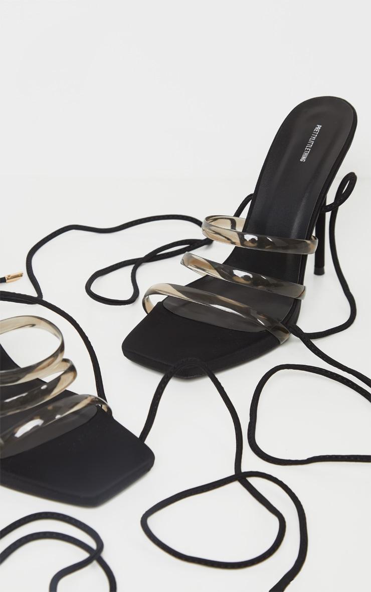 Sandales noires pointure large à brides transparentes et lacets cheville 3