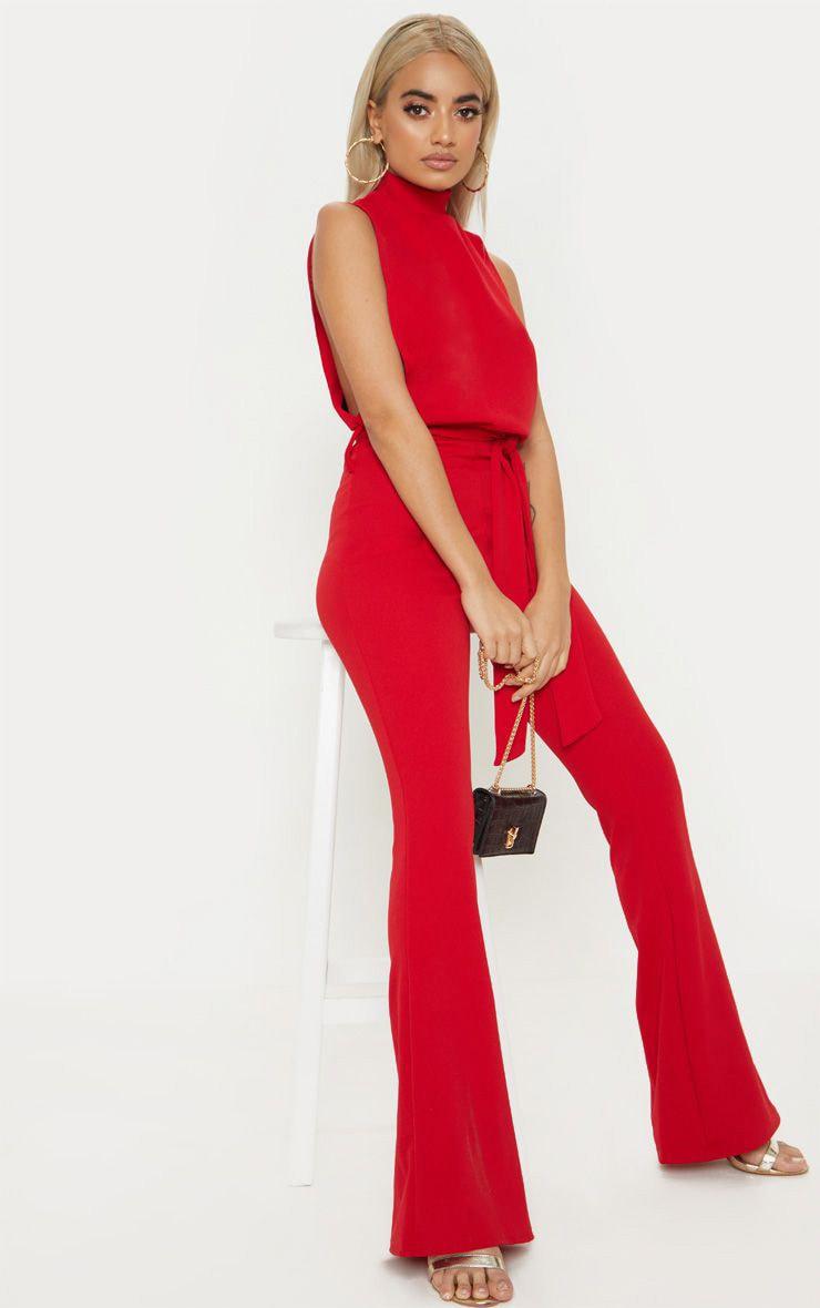 Petite Red Scuba High Neck Tie Waist Jumpsuit 1