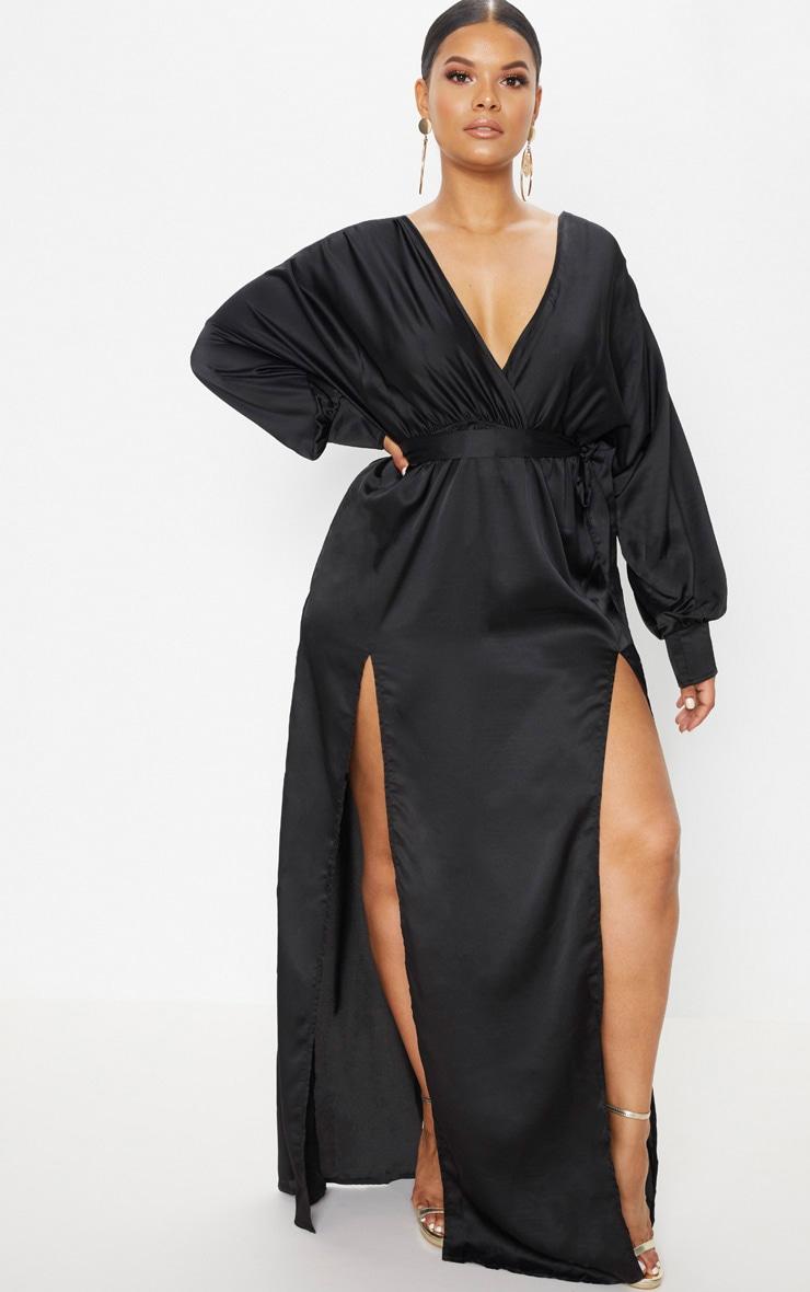Plus Black Kimono Maxi Dress