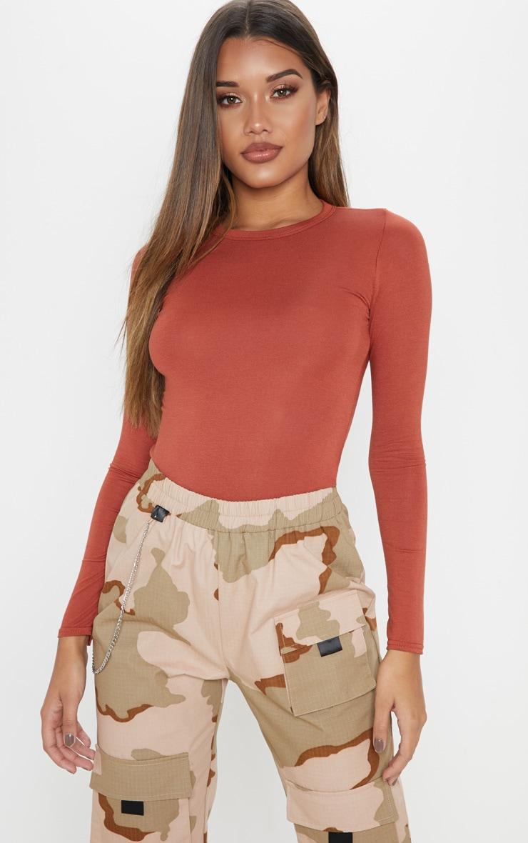 Basic Burnt Orange Long Sleeve Fitted T Shirt 1