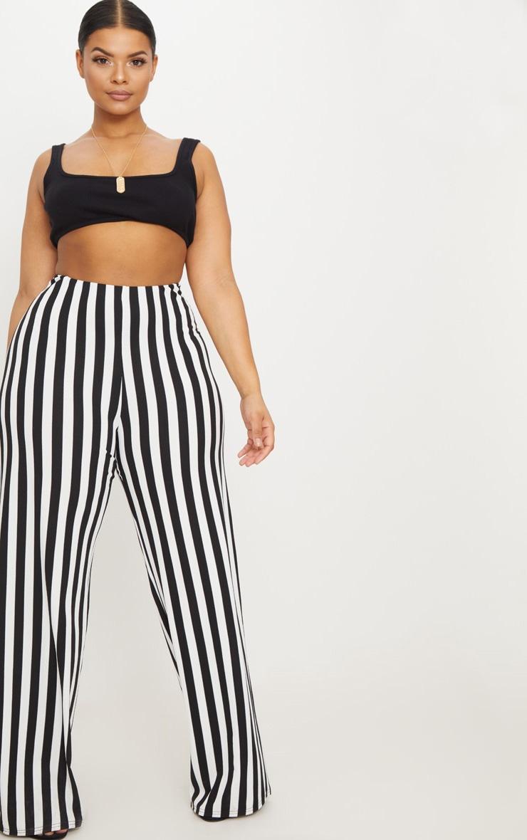 Plus Black High Waisted Crepe Stripe Wide Leg Pants 1