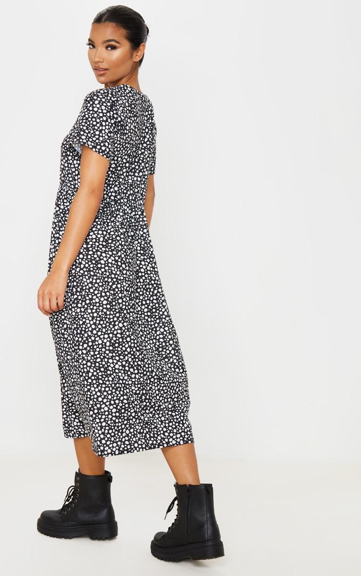 Black Dalmatian Print Short Sleeve Midi Smock Dress 2