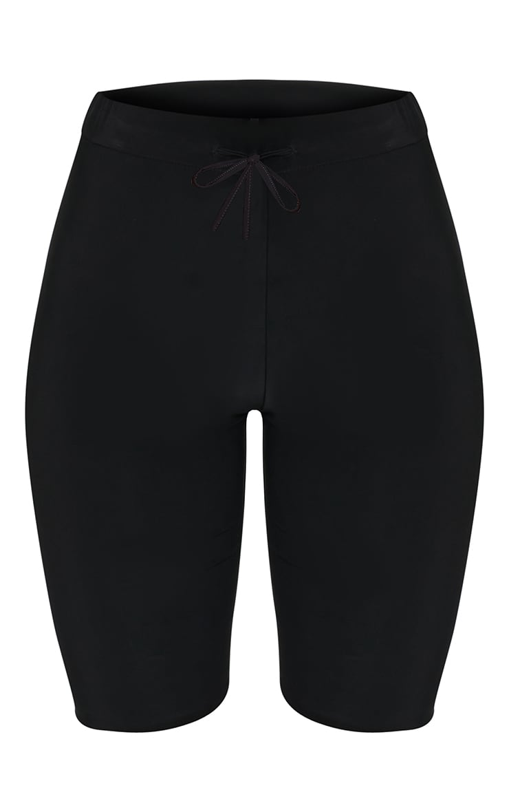 Black Slinky Tie Waist Cycle Shorts 6