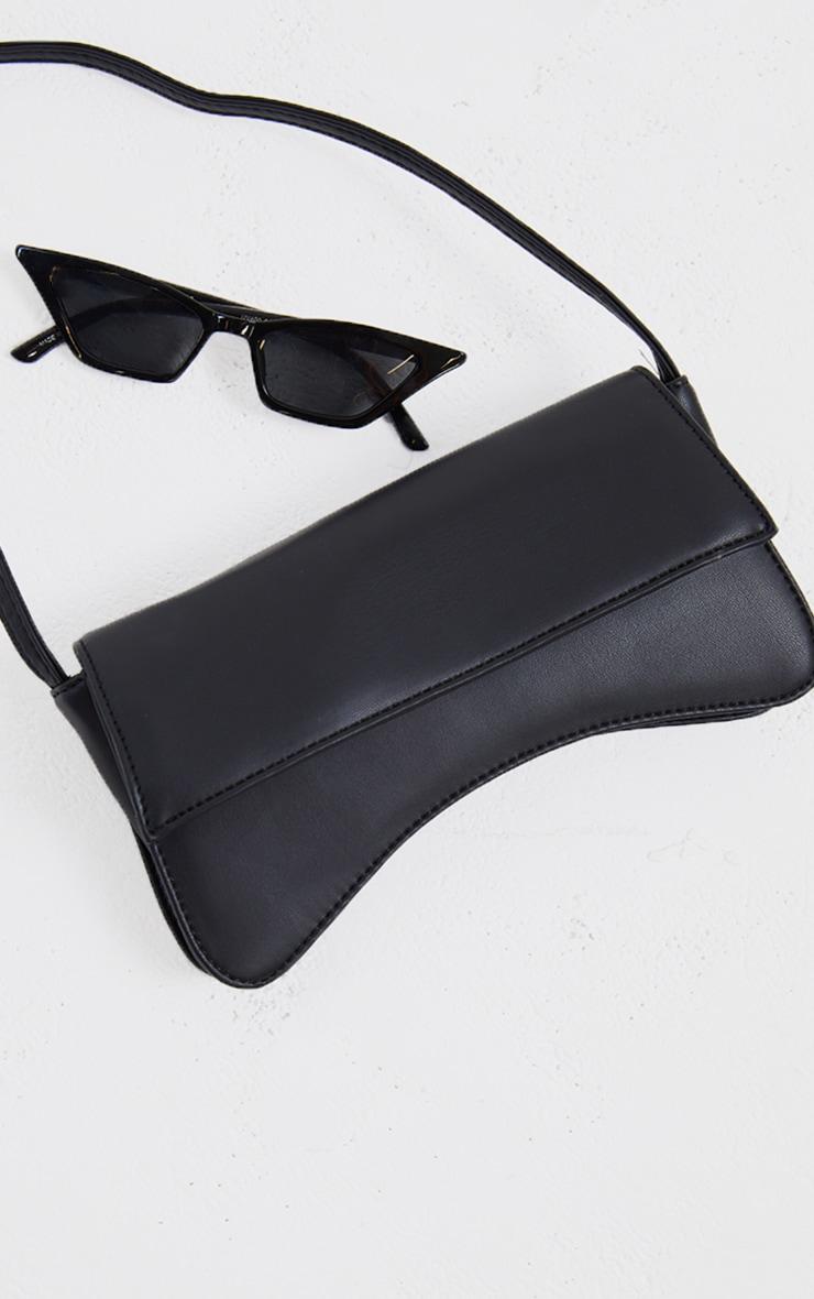 Black PU Flap Over Baguette Shoulder Bag 3