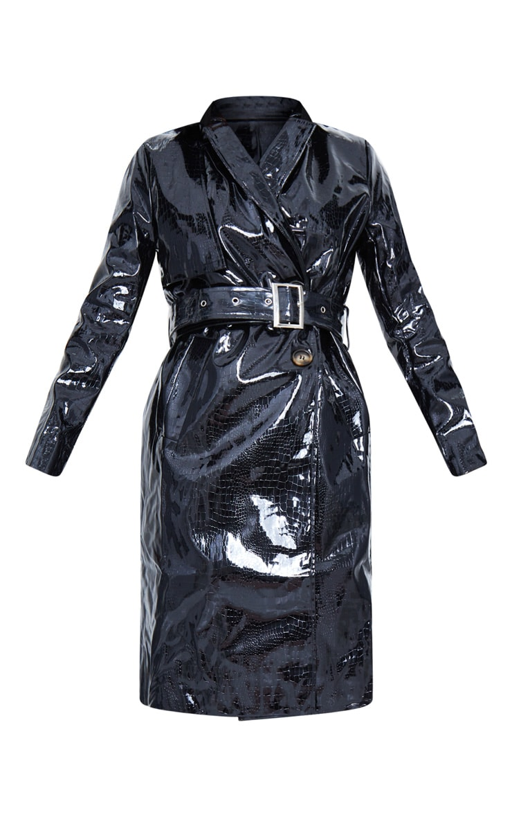 Black Croc PU Trench 6