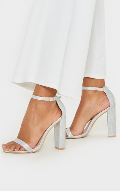 Silver Glitter May Heeled Sandals