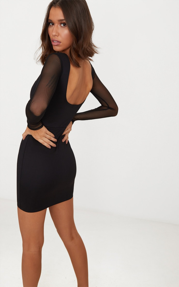 Black Square Neck Mesh Sleeve Panelled Bodycon Dress 2