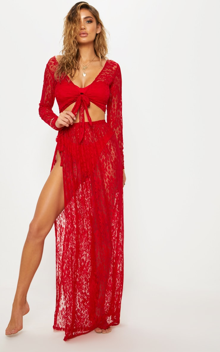 Red Lace Tie Side Maxi Beach Skirt