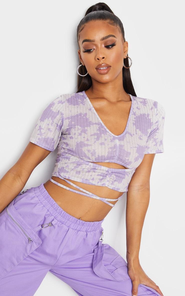 Lilac Acid Wash Rib Ruched Tie Crop Top 1