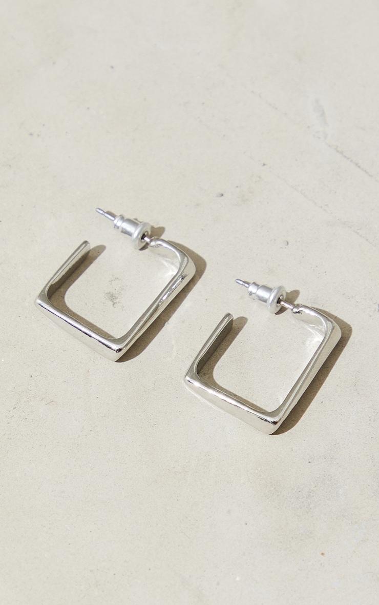 Silver Mini Chunky Square Hoop Earrings 2