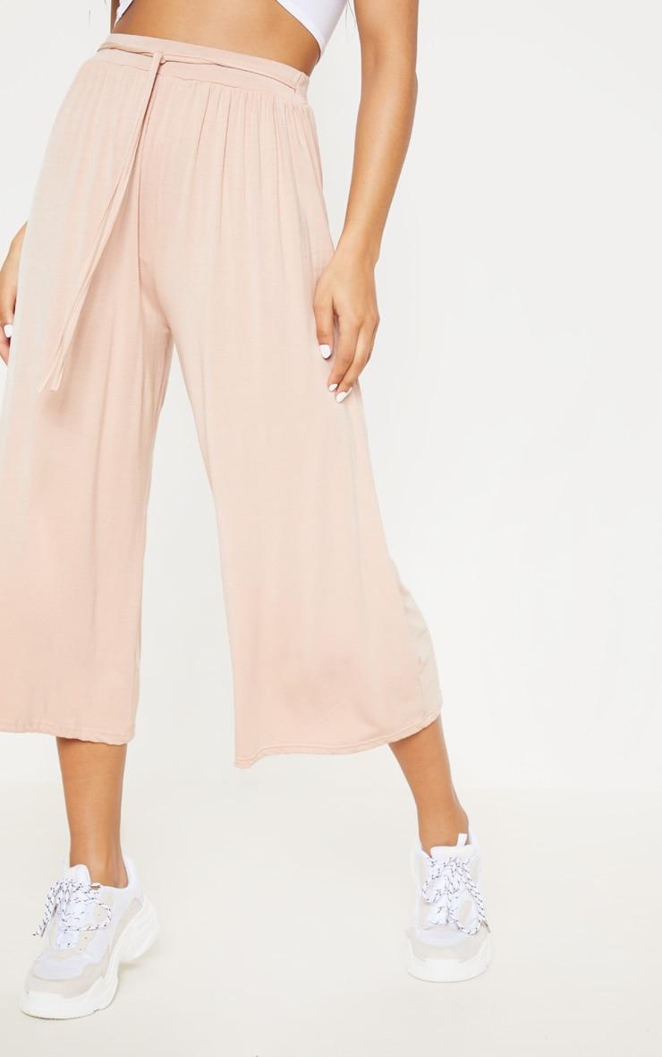 Blush Gathered Waist Tie Detail Wide Leg Culotte 2