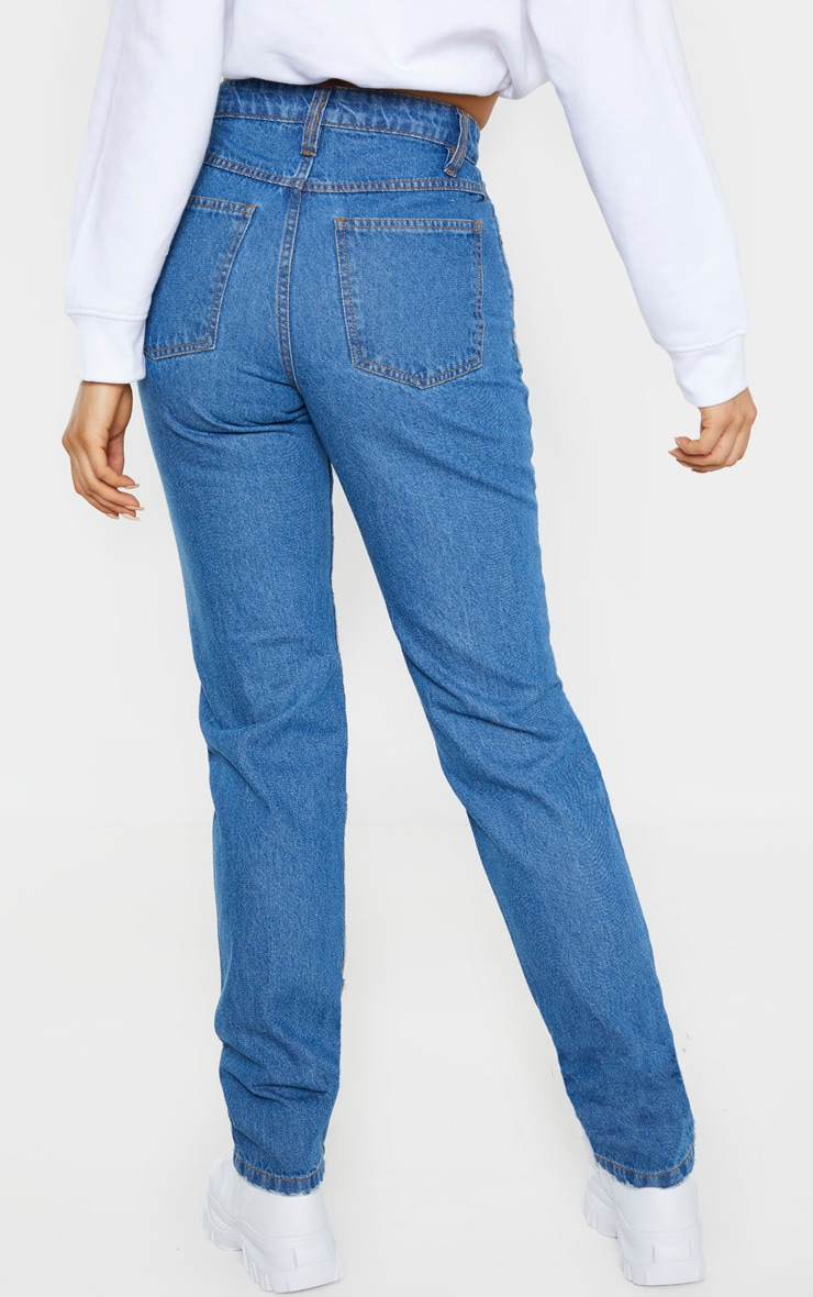 Tall Mid Wash Rip Knee Mom Jean 4
