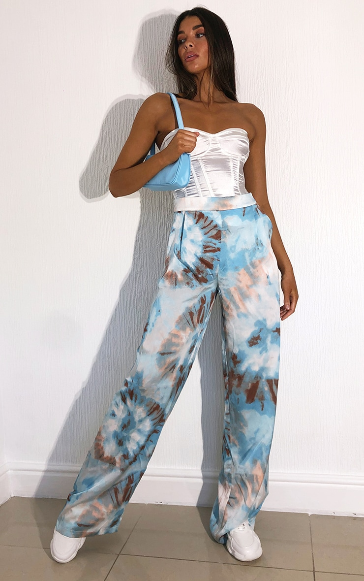 Blue Tie Dye Wide Leg Trousers 1